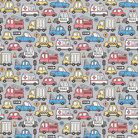 Cars Vehicles Doodle fabric Blue Red Yellow on Grey Tiny Small 1 inch fabric by caja_design on Spoonflower - custom fabric