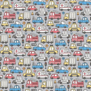 Cars Vehicles Doodle fabric Blue Red Yellow on Grey Tiny Small 1 inch