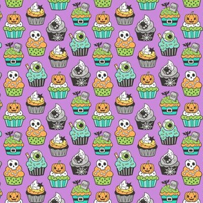 Halloween Fall Cupcakes on Purple Tiny Small 1 inch