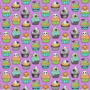 Halloween Fall Cupcakes on Purple Tiny Small 1 inch