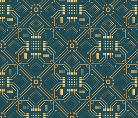 Art Deco Circuit Board fabric by abbilaura on Spoonflower - custom fabric