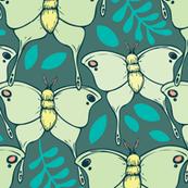 Lovely Luna Moths (green background)