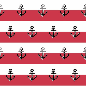 Anchor Stripes -MED45 Rose Red