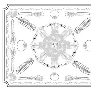 black and white coloring harvest tea towel