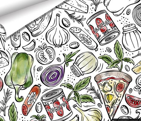 Pizza Night - Coloring Book Black & White
