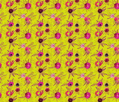 Flowers & Doodles // Chartreuse  fabric by theartwerks on Spoonflower - custom fabric