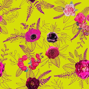 Flowers & Doodles // Chartreuse