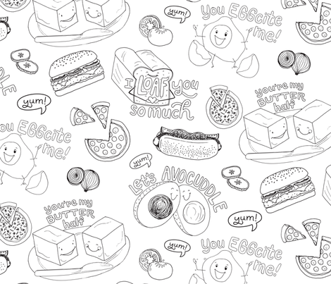Punny Fun with Food Coloring Pattern fabric by paperheartdispatch on Spoonflower - custom fabric