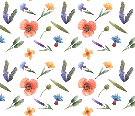 Wild flowers and grass fabric by katrinkastem on Spoonflower - custom fabric