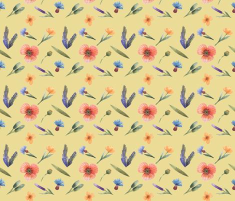 Wild flowers and grass fabric by katrinkastem on Spoonflower - custom fabric