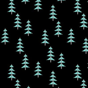 Blue Trees (black) Woodland Forest Fabric, gray tree trunks