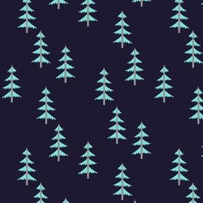 Blue Trees (midnight navy) Woodland Forest Fabric, gray tree trunks