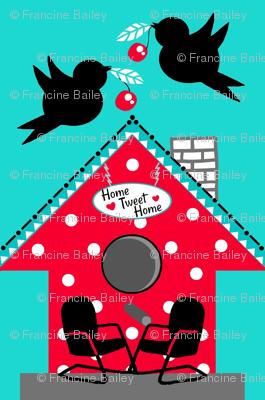 50's Kitch / Red polka-dot birdhouse