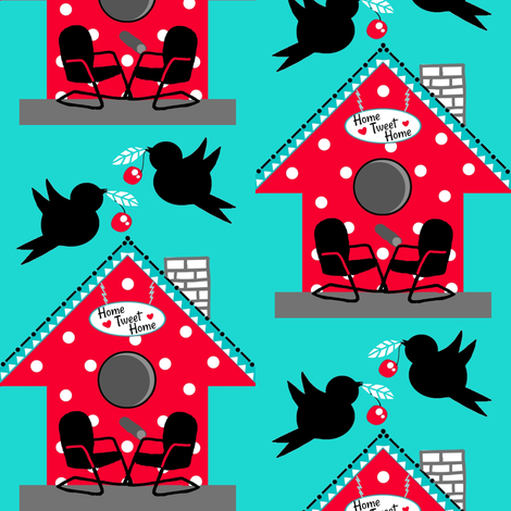 50's Kitsch / Red polka-dot birdhouse  fabric by franbail on Spoonflower - custom fabric
