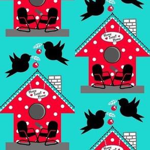 50's Kitsch / Red polka-dot birdhouse