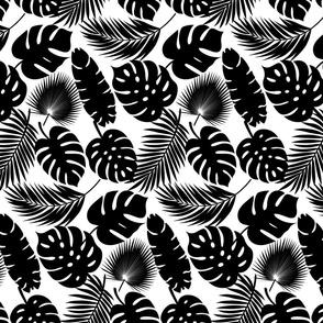 Tropical Leaves - Black on White - Micro Print