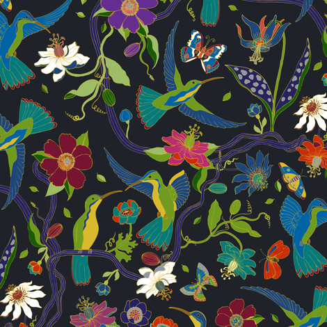 Hummingbirds and Passion flowers - cloisonne - medium fabric by cecca on Spoonflower - custom fabric