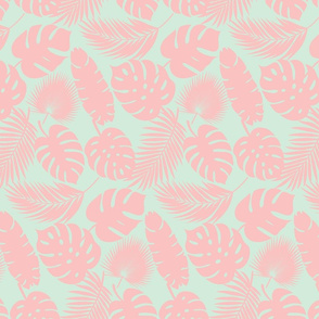 Tropical Leaves - Blush on Sky - Micro Print