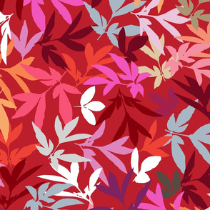 Peony Leaf Toss in Reds and Pinks