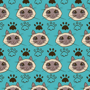 Siamese Cats (teal background)