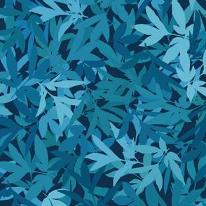 Peony Leaf Hedge in Blues