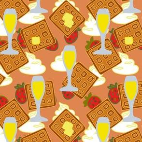 berry waffle mimosa cream on orange red