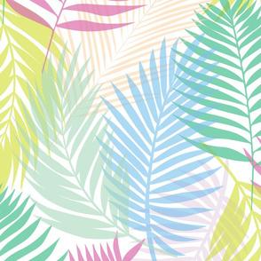 Layered Palms - Bright Rainbow on White