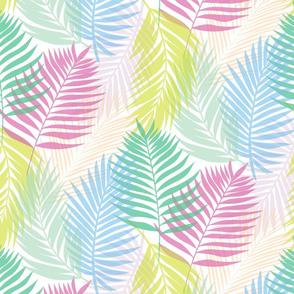 Layered Palms - Bright Rainbow on White - Micro Print