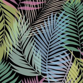Layered Palms - Bright Rainbow on Black