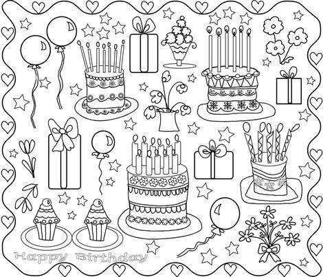 BIRTHDAY TIME !!-01 fabric by soobloo on Spoonflower - custom fabric