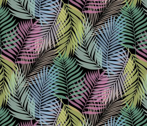 Layered Palms - Bright Rainbow on Black - Micro Print fabric by hilarycaroline on Spoonflower - custom fabric