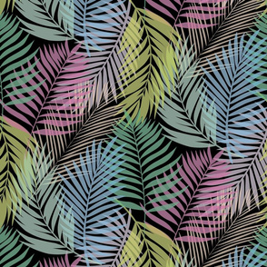 Layered Palms - Bright Rainbow on Black - Micro Print