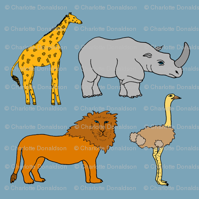 AF_2508_C African Lion, Ostrich, Rhino, and Giraffe on Blue