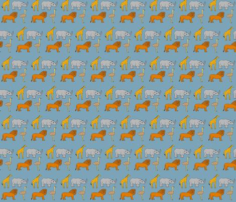 AF_2508_C African Lion, Ostrich, Rhino, and Giraffe on Blue fabric by charlotte_donaldson_fabrics on Spoonflower - custom fabric