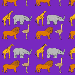 AF_2508_K African Lion, Ostrich, Rhino and Giraffe on Purple Violet
