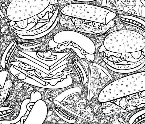 JUNK AND HEALTH FOOD  PARTY! fabric by heckadoodledo on Spoonflower - custom fabric