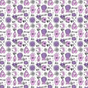 Ouija cute halloween pattern october fall themed fabric print white purple by andrea lauren - MINI version