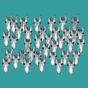 EQ_6011_C Equestrian horse heads in abstract gathering on Verdigris blue