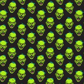 (small scale) zombies - green on black - halloween C18BS