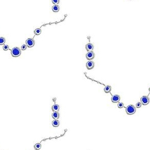 JE_9004 Jewelry silver with sapphire blue on chain with earrings
