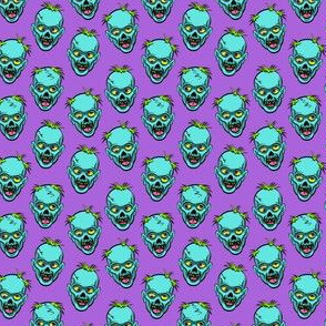 (small scale) zombies - teal on purple - halloween C18BS