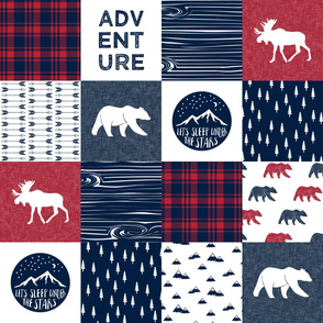 Happy Camper || Wholecloth Quilt Top - navy and red C18BS