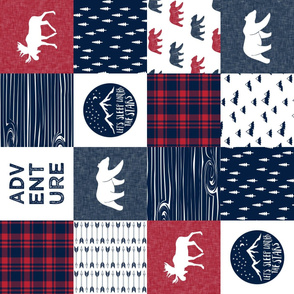 Happy Camper || Wholecloth Quilt Top - navy and red (90) C18BS
