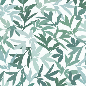 Peony Leaf Scatter in Greens