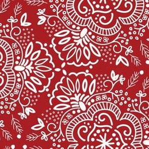 Hand-Drawn Symmetric Red Floral