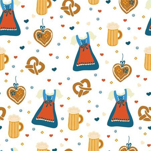 Dirndl dress, beer, gingerbread hearts, and pretzels. German Oktoberfest print.
