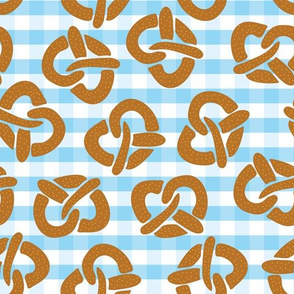 Pretzels on a blue and white checkered background