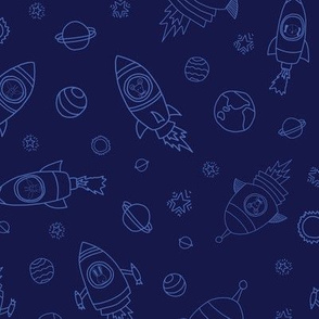 Space Animals light blue on dark blue
