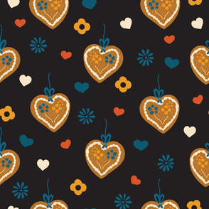 Gingerbread hearts on black