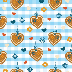 Gingerbread  heart cookies on blue and white plaids